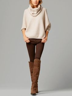 Tout voir - Pulls et Cardigans - FEMMES - Massimo Dutti autumn clothes outfits womens fashion style apparel clothing closet ideas brown boots long trousers white top pullover Mode Outfits, Casual Outfits, Fashion Outfits, Womens Fashion, Fashion Clothes, Legging Outfits, Brown Pants Outfit, Outfits With Brown Pants, Oversize Pullover