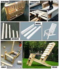 """scavenge, dismantle, measure, model, build, RELAX -- pallet """"Adirondack"""" chair"""