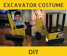 Instructions and tips on this DIY construction truck/excavator costume for Halloween on Missy's.com. Pin for later and follow this link: http://www.missyg.com/mikeys-excavator-costume-diy/