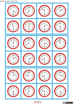 Clock Bingo ~ An AMAZING site with lots of free math printables! Free Teaching Resources, Teaching Math, Math Worksheets, Math Activities, Math Measurement, Montessori Math, 1st Grade Math, Free Math, Math For Kids