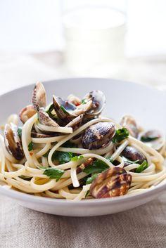 Spaghetti con le Cozze -- with clams! from Mario Batali
