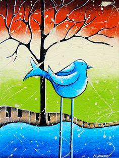 Blue Bird Painting Original Whimsical Folk Wall Art - Love Song | Flickr - Photo Sharing!
