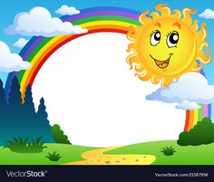 Illustration about Landscape with rainbow and Sun 2 - vector illustration. Illustration of shine, forecast, artwork - 22827456