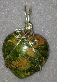 Unakite Wire wrapped Heart Pendant