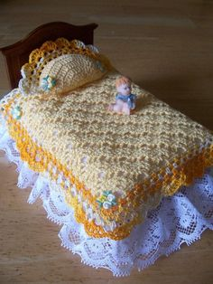 Items similar to Miniature Dollhouse Crochet Bedspread with Pillow White on White Lacy and Pretty on Etsy Crochet Crafts, Crochet Dolls, Crochet Baby, Crochet Projects, Crochet Accessories, Doll Accessories, Barbie Bedroom, Accessoires Barbie, Crochet Barbie Clothes