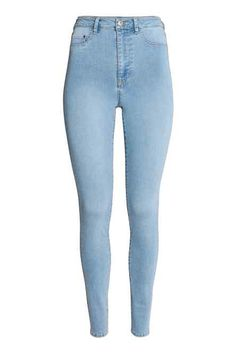 Jeggings in washed, superstretch denim with a high waist, mock front pockets, and regular back pockets. Girls Ripped Jeans, Cute Jeans, Boyfriend Jeans, Light Wash Skinny Jeans, Skinny Fit Jeans, Skinny Legs, Light Blue Jeans, Jeggings, Best Jeans For Women