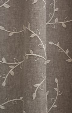 Beautiful linen rich fabric with exquisite embroidery. Delicate Taupe fabric, also available as made to measure curtains.