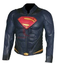 """Superman Man Of Steel Real Blue leather Jacket    Jacket Features   It was worn by Henry Cavil It is inspired from """"Man of Steel"""" It is made from pure leather It has padding from the shoulders all the way to the elbow Superman logo is embossed at the front It has YKK zipper at fro"""