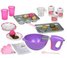 Doll Cookware Set - If you have an American Girl Doll Lover this is a great list of Cheap Accessories like Doll Beds, Brushes, scooters, Clothing and more. A Great Way to save over buying all the name brand items! #americangirl #dolls #christmas