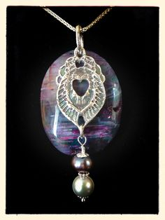 Fine silver pendant (99.9) - with sterling silver (92.5) chain and accents with agate backdrop and pearls. Hand made by Cilette Swann of Espiritu Fine Art. Email: cece at gypsysoul dot com for stores, custom orders and pricing etc. c) 2012-2014 Espiritu Fine Art