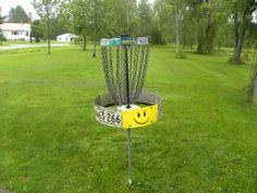 License plate disc golf basket