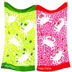 Mosaic Crab Lime & Pink Beach Towel Set