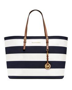 598db1087f8 MICHAEL Michael Kors Handbag, Jet Set Stripe Medium Travel Tote - MICHAEL  Michael Kors - Handbags   Accessories - Macy s , www.