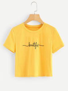 Camiseta corta con estampado de letras -Spanish SheIn(Sheinside)