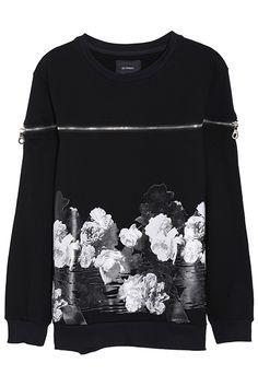 ROMWE   Flower Print Zippered Sweatshirt