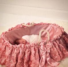 Bratt Decor's baby pink silky rose moses basket is the dreamiest! #moses-basket #nursery #pink #baby #newborn