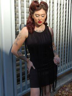 Black Dress with Fringe