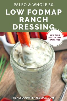 This Paleo Low FODMAP Ranch Dressing is simple and so flavorful. Easy to make an This Paleo Low FODMAP Ranch Dressing is simple and so flavorful. Easy to make and great for dipping. gluten free dairy free and low carb. Whole30, Real Food Recipes, Diet Recipes, Paleo Food, Eating Paleo, Recipes For Ibs, Paleo Diet, Paleo Mayo, Ibs Diet
