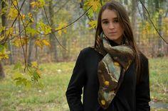 Brown wool shawl felt women accessory wool accessory merino