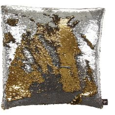 Aviva Stanoff Two Tone Mermaid Sequin Cushion - Silver/Gold - 50x50cm ($110) ❤ liked on Polyvore featuring home, home decor, throw pillows, metallics, silver sequin throw pillow, patterned throw pillows, mermaid home decor, aviva stanoff and silver accent pillows