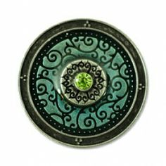 "Dahlia Turquoise/Peridot Antique Silver  (Magnetic) Design insert that fits into 1""Magnabilities interchangeable jewelry."