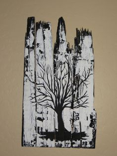 Tree painting on reclaimed, recycled pallet wood