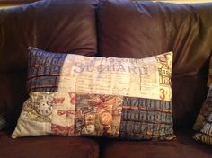 Cushion made with Tim Holtz eclectic elements fabric by Sam Glanville www.thethingaboutbears.com