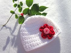 White Newborn Hat with red Flower and by crochetedbycharlene #baby #valentinesday #hat