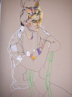 Howard Tangye one of my illustration heroes - a gorgeous mash up of line and colour - very Schiele - love it. Art Inspo, Kunst Inspo, Figure Painting, Figure Drawing, Painting & Drawing, Art And Illustration, Drawing Sketches, Art Drawings, L'art Du Portrait