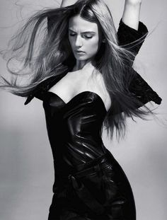 Sandra Malek for Grazia France - Mac Douglas leather bustier, Zapa leather pants