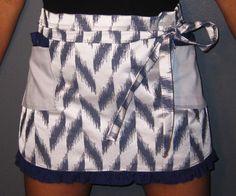 Wrap-around Modern: Sexy Half Apron with Blue by LillyBoChic