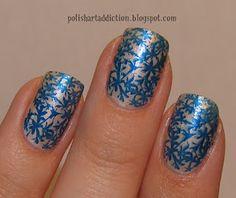 OPI Pearls of Wisdom  Sally Hanson Co-Bolt Blue  random stamping plate