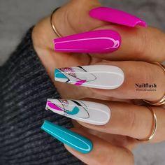 Acrylic Nails Coffin Pink, Acrylic Nail Art, Coffin Nails, Long Nail Art, Long Nails, Nail Candy, Pink Nail Designs, Top Nail, Nail Inspo