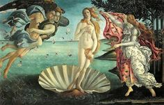 """Obra """" O nascimento de Vênus """" (1485), de Botticelli Vemos que o gênero Mitógico aparece nessa obra, pois conta a história de um dos deuses mitóligicos que naquela epóca eram a explicação de muitas coisas."""