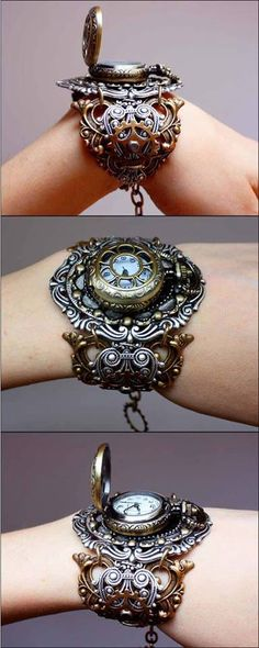 Steampunk Wristwatch.  Large filigree bangle/cuff with a pocket watch. Now how would one connect the two?