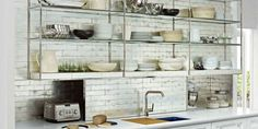 Kitchen Ideas: Attractive Kitchen Shelves Ideas Fantastic Kitchen Remodel Concept with Hate Open Shelving These 15 Kitchens Might Convince You Otherwise Kitchen Shelves I Metal Kitchen Shelves, Kitchen Storage, Metal Cabinets, Kitchen Cabinets, Open Cabinets, Glass Shelves, Kitchen Display, Kitchen Walls, Kitchen Cupboard