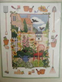 Counted Cross Stitch Kit  THE JOY OF GARDENING  11 by 14  1994 DIMENSIONS  New (Old Stock) in Package Kit  A wonderful Gardening scene with plants, garden tools and birds, chair  Designed by Mary Lake Thompson