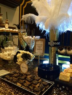 Great Gatsby Wedding Dessert/Candy Buffet Table by Bizzie Bee Creations #greatgatsbywedding #greatgatsby