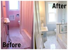 Turn a pink bathroom into a smart and fresh bathroom. Old Bathrooms, Modern Bathroom, Renovating For Profit, Bathroom Renos, Bathroom Remodeling, Master Bath Remodel, Tiny Spaces, Beautiful Bathrooms, Decoration