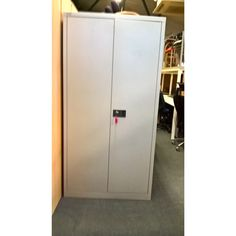 Second Hand Bisley Stationery Cupboard - Light Grey | NEXT DAY DELIVERY | Available for a fraction of its normal price, this used Bisley stationery cupboard comes with 3 internal shelves and a fitted lock for security!