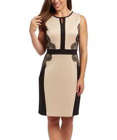 Look what I found on #zulily! Beige & Black Lace-Accent Sheath Dress #zulilyfinds