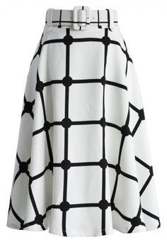 Sway the Plaids Belted Midi Skirt in White