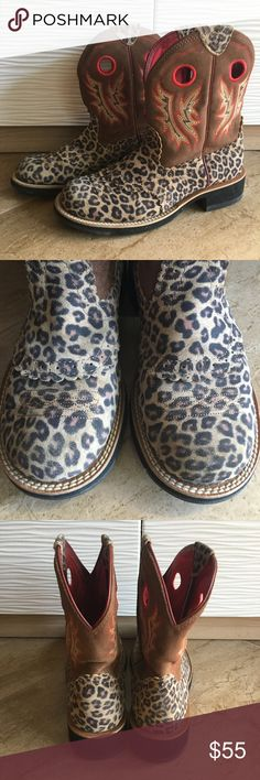 Cheetah Print Ariat Ladies Fatbaby Boots Worn a few times. Part of the red is coming off (4th picture) and they are creased a little. Other than that they are in excellent condition! Ariat Shoes Ankle Boots & Booties