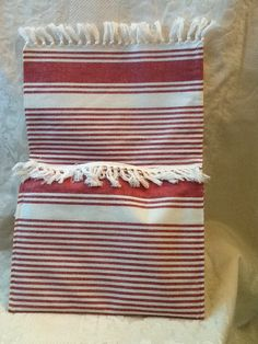 Clutch purse, tablet bag, red and neigh ticking pattern with fringe & 2 exterior pockets for phone and keys