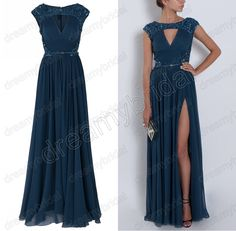 navy blue prom dresses | ... -Evening-Gowns-With-Belt-Gorgeous-Women-s-Navy-Blue-Cap-Sleeves.jpg
