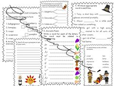 Thanksgiving 2019 Worksheets -Print and Go {Thanksgiving Activities} Parts Of Speech, Thanksgiving Activities, Esl, Teaching Resources, Vocabulary, Something To Do, Worksheets, Homeschool, Clip Art
