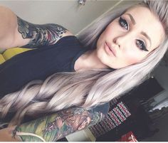 kimberryberry/Tumblr, effect of colored silver hair paired with tattoos