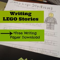 Writing LEGO Stories with free printable paper First Grade Writing, Kids Writing, Teaching Writing, Writing Paper, Writing Ideas, Teaching Boys, Writing Skills, Writing Prompts, Lego Activities