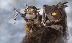 Owl Rider by GaryLaibArt gnome goggles grenades bombs scout fighter alchemist…