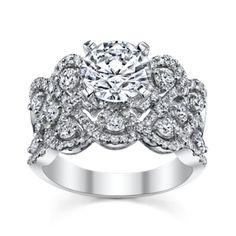 Stunning Diamond Engagement Ring Setting with 112 Round Diamonds in 14K WG.